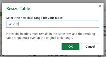 Dialogboksen Skift størrelse på tabel