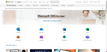 Startsiden for Office Training Center med ikoner til de forskellige Office-apps og felter til tilgængelige indholdstyper