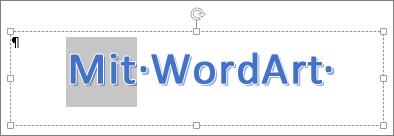 Delvist markeret WordArt-tekst