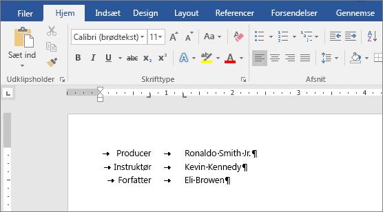 Et eksempel viser tekst, der er justeret med tabulatorstop på linealen.