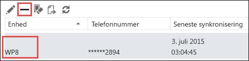 Fjern telefonen fra Outlook Web App