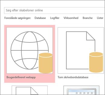 Knappen Brugerdefineret webapp i startskærmbilledet.