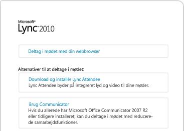 Billede af browservinduet til Lync