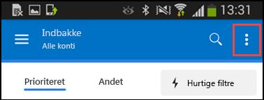 Menu med indstillinger i Android