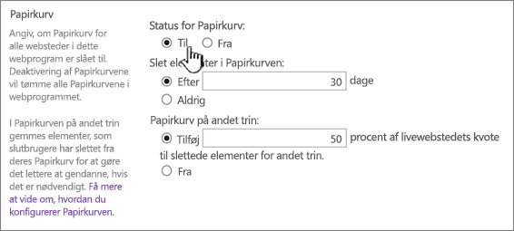 sektionen med genbrugsindstillinger på siden generelle indstillinger for webprogrammet