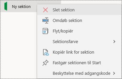 Skærmbillede af genvejsmenuen til sletning af en sektionsfane i OneNote til Windows 10.