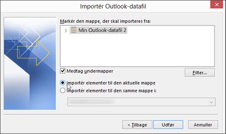 """Vælg """"Importér elementer til den aktuelle mappe"""""""