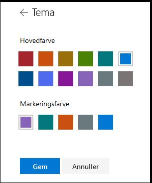 Tilpasse temaet og temafarverne af dit SharePoint-websted