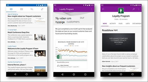 Nyheder i SharePoint på Android mobile enheder