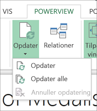 Knappen Opdater i Power View