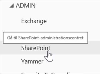 SPO administration med SharePoint fremhævet