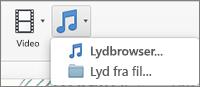 Menuen Indsæt lyd med valgmulighederne Lyd fra fil og Lyd fra browser