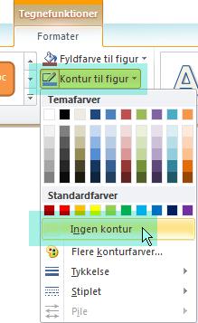 Vælg Kontur til figur og Ingen kontur i den viste menu