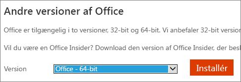 Skærmbillede af rullelisten til at vælge mulighed for at installere Office - 64-bit