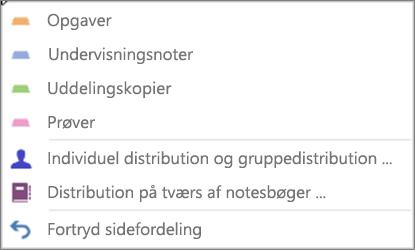 Distribuer Siderulleliste med Opgaver, Klassenoter, Uddelingskopier, Prøver, Individuel og gruppefordeling, Fordeling på tværs af notesbøger og Fortryd sidefordeling.