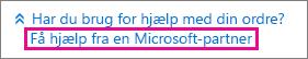 Vælg Få hjælp fra en Microsoft-partner