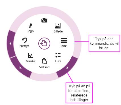 Klik på kommandoer eller pile for at bruge cirkelmenuen