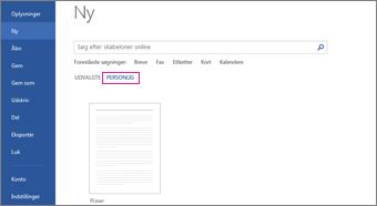 Fanen Personlig, der viser din brugerdefinerede skabelon, når du har klikket på Filer > Ny