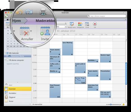 Outlook-grænseflade der viser det nye bånd