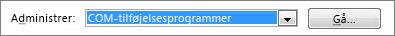 Administrer COM-tilføjelsesprogrammer