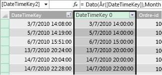 Kolonnen DateTimeKey