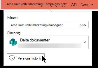 Vælg filnavnet på titellinjen for at få adgang til filens Versionshistorik