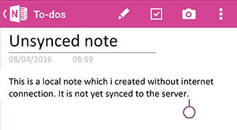 En ikke-synkroniserede note i OneNote til Android