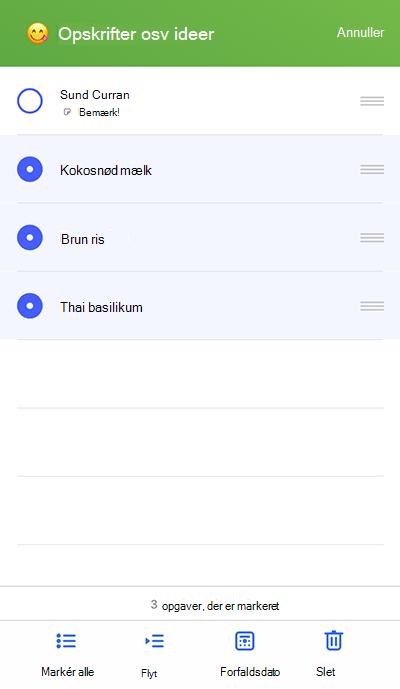 Skærmbillede, der viser Flyt til menuen på iOS