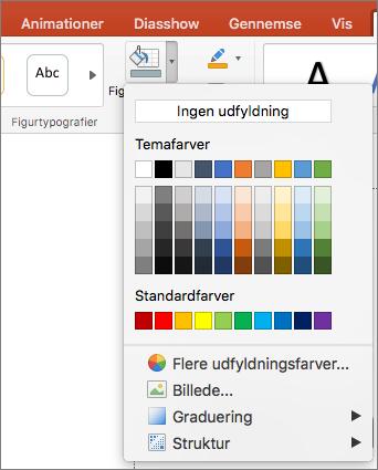Skærmbilledet viser indstillingerne i menuen Figurfyld, herunder Ingen udfyldning, Temafarver, Standardfarver, Flere fyldfarver, Billede, Graduering og Struktur.