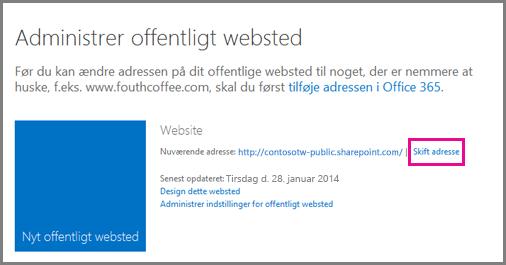 Administrer offentligt websted, der viser Skift placering for adressen.