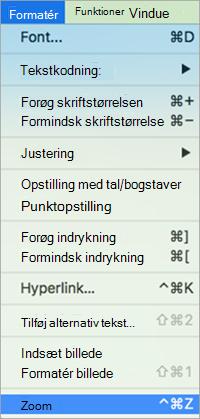 Viser valg af Zoom i menuen Formater