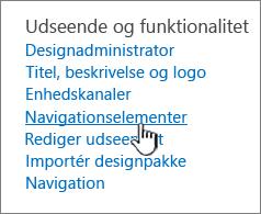 Navigationselementer i menuen Indstillinger for websted