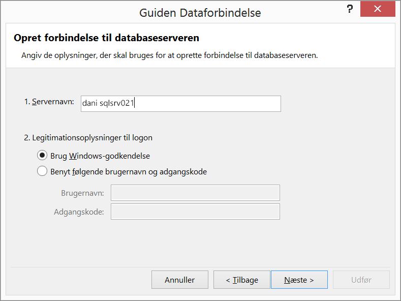 Opret forbindelse til en databaseserver