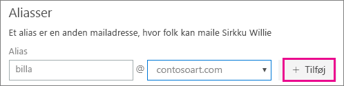 Indtast mail til Alias-mailadresser
