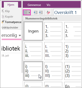Skærmbillede af, hvordan du tilføjer nummerering til en side i OneNote 2016.