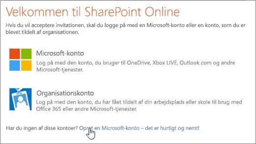 Et skærmbillede, der viser logonskærmbilledet til SharePoint Online med linket til at oprette en Microsoft-konto markeret.