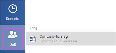 Du kan nemt finde og åbne filer, der er delt med dig.