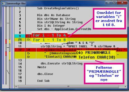 Forskelle i VBA kode