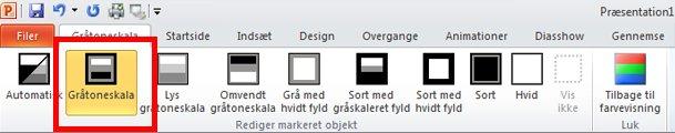Fanen Gråtoneskala i PowerPoint med gråtoneskala markeret