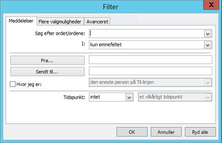Vælg Filter, hvis du kun vil importere bestemte mails.