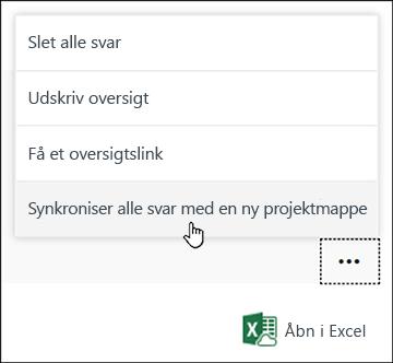Synkroniser alle svar med en ny projektmappeindstilling i Microsoft Forms