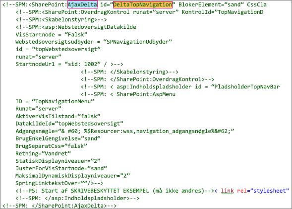 Skærmbillede af DeltaTopNavigation-kode, der skal slettes