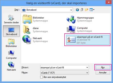 Vælg den vCard-fil, som du vil importere til .csv.