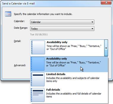 Listen Detaljer i dialogboksen Send en kalender via e-mail
