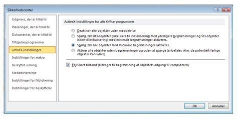 Området ActiveX-indstillinger i Sikkerhedscenter