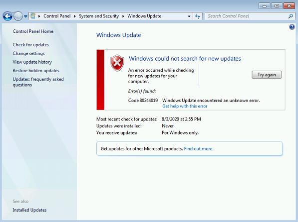 Error code 80244019
