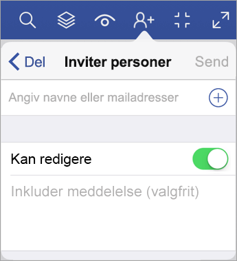 Skriv navne eller mailadresser, og inviter andre til at få vist dit diagram i Visio Viewer til iPad.