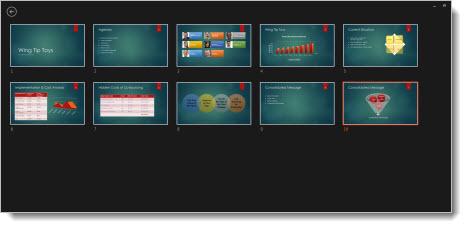 Et gitter med miniaturebilleder af alle slides i præsentationen.