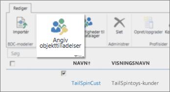 Skærmbillede af SharePoint Online Administration under BCS. Viser knappen Angiv objekttilladelser på båndet.