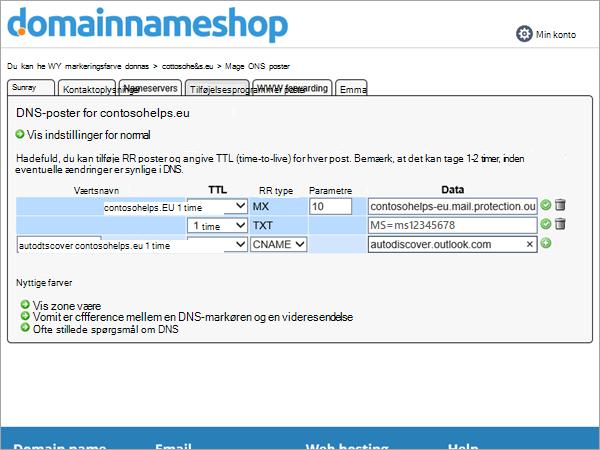 RR postværdier i Domainnameshop